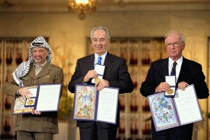 The Nobel prize laureates for 1994: PLO Chairman Yasser Arafat, Israeli Foreign Minister Shimon Peres, and Israeli Prime Minister Yitzhak Rabin.