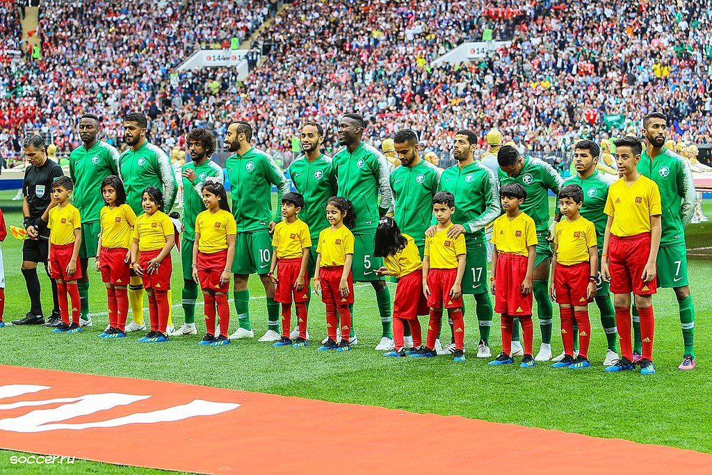 Saudi national team at 2018 World Cup (Wikimedia Commons).