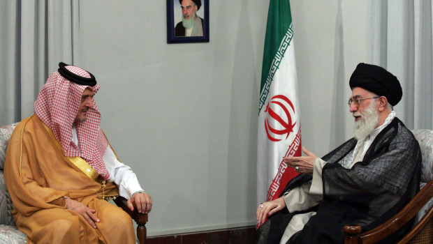 Iran's supreme leader Ayatollah Ali Khamenei meets with Saudi Foreign Minister Prince Saud al-Faisal in Tehran 12 June 2006. Al-Faisal arrived in Tehran today, saying he hoped for a speedy resolution to the crisis over Iran's nuclear programme. AFP PHOTO/STR (Photo credit should read -/AFP/Getty Images)