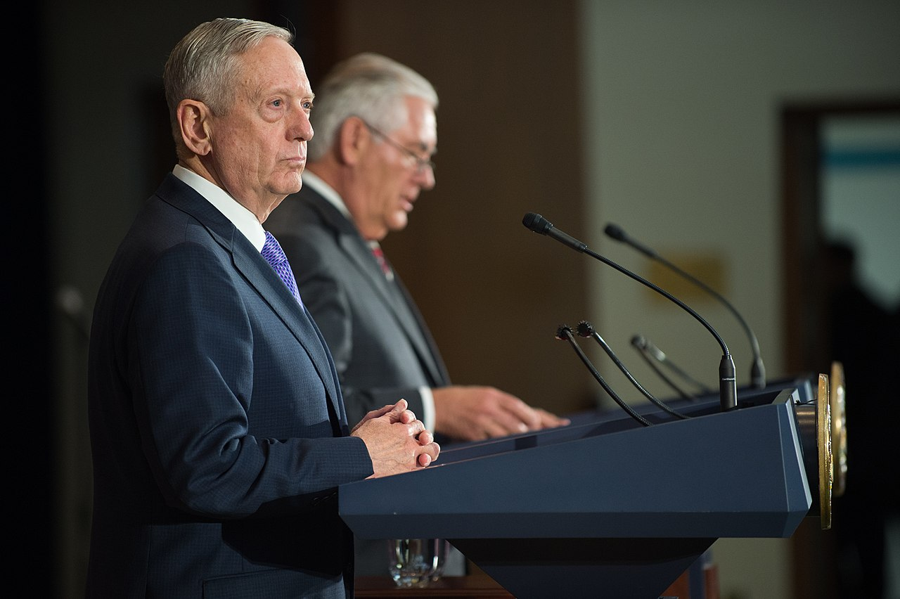Outgoing Secretary of Defense James Mattis and former Secretary of State Rex Tillerson (Wikimedia Commons)