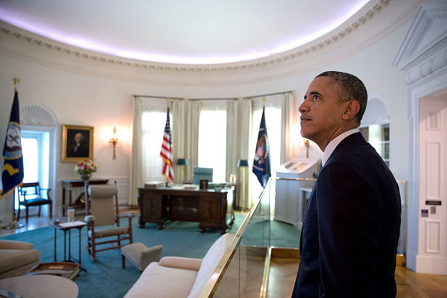 President Barack Obama views a replica of the Oval Office at the Lyndon Baines Johnson Presidential Library in Austin, Texas, April 10, 2014. (Official White House Photo by Pete Souza)