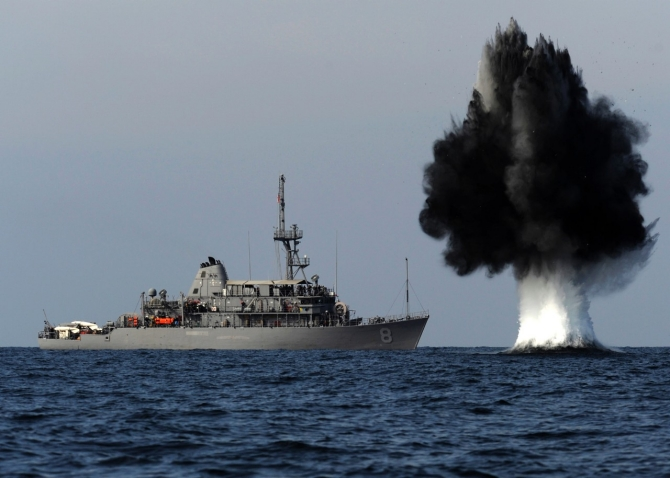 Demolition charge near a U.S. vessel in the Strait of Hormuz (photo by Mass Communication Specialist 1st Class Joshua Lee Kelsey)