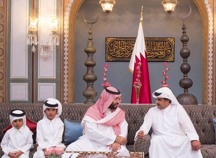 Saudi Crown Prince Mohammad bin Salman meeting with Qatari Emir Sheikh Tamim bin Hamad in 2016 (SPA)