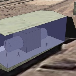 Scaled reconstruction of the chamber in the building of the massive cylinder and concrete shield by Tamara Patton.
