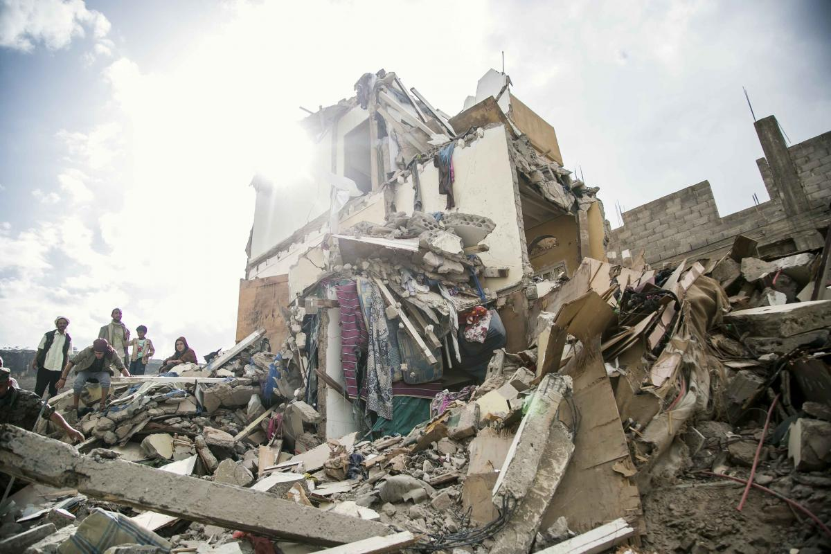 Destruction caused by a Saudi-led coalition airstrike in Sanaa in August 2017