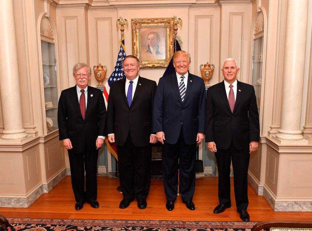 John Bolton, Mike Pompeo, Donald Trump, and Mike Pence (State Department)