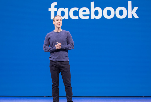 Mark Zuckerberg giving 2018 Facebook keynote address (Anthony Quintano via Flickr)