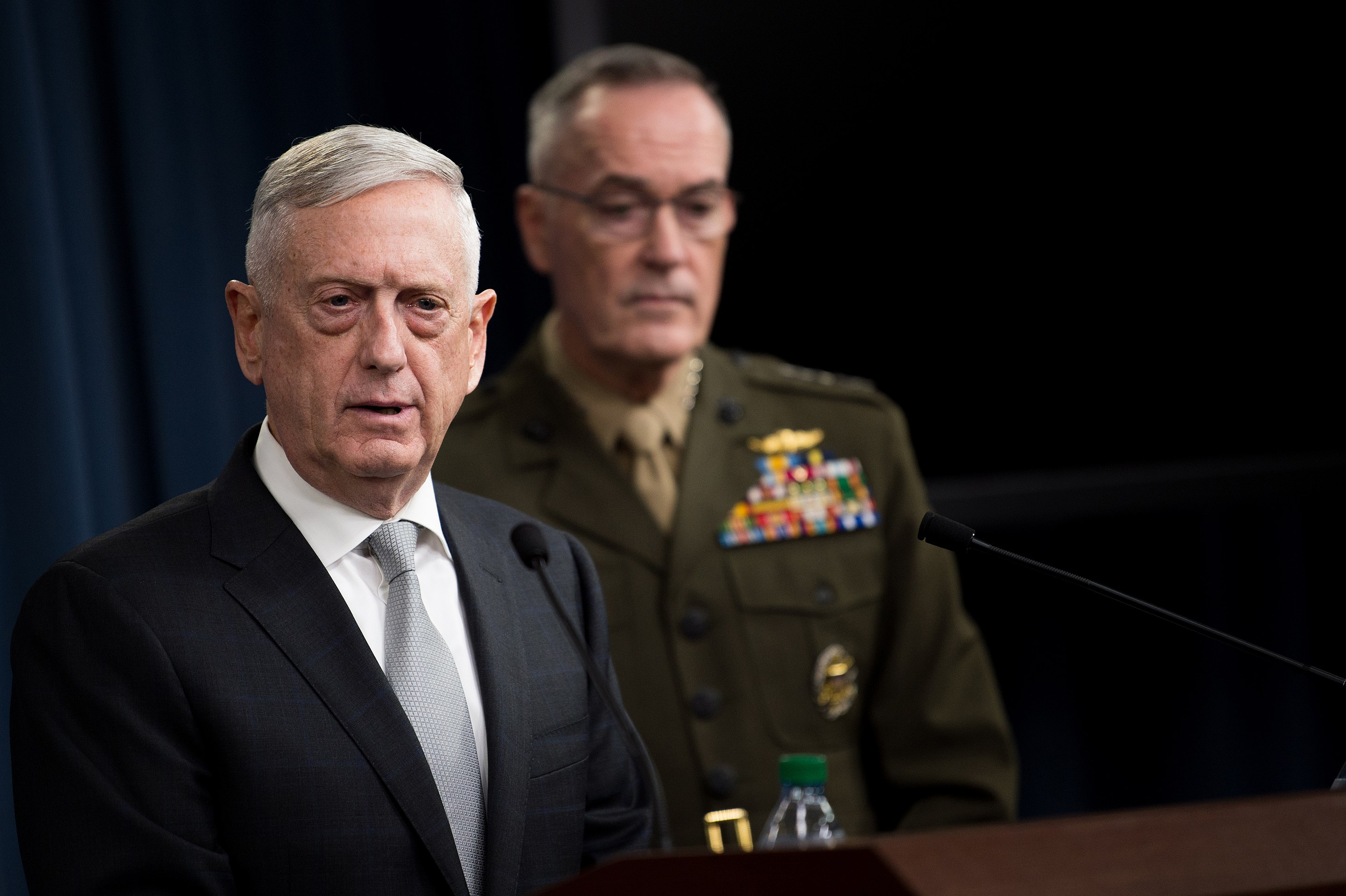 James Mattis and Joseph Dunford briefing reporters on the April 14 military operation against Syria (Wikimedia Commons)