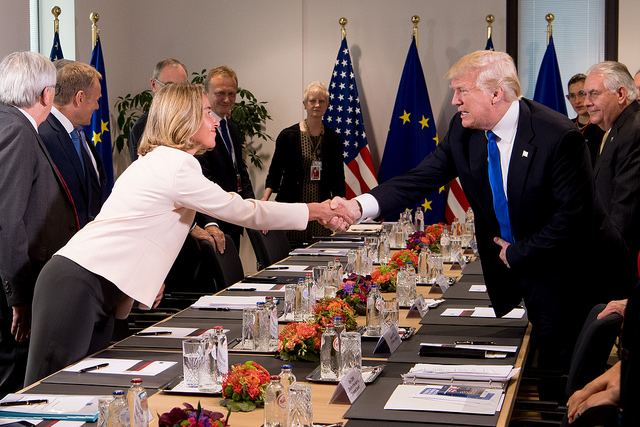 Federica Mogherini and Donald Trump (Euorpean External Action Service via Flickr)
