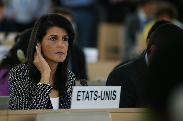 Nikki Haley addresses the UN Human Rights Council (US Mission Geneva via Flickr)