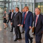 Mike Pompeo, Donald Trump, and John Bolton at the NATO ministerial (State Department via Flickr)