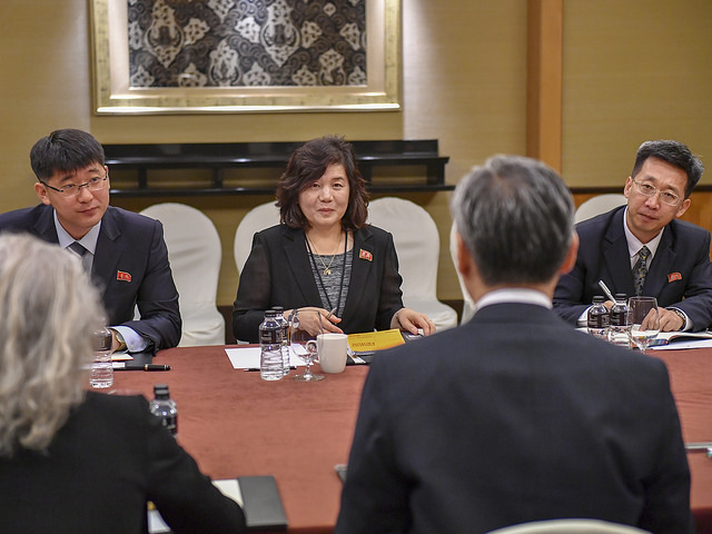 Former Special Representative for North Korea Policy Sung Kim meets with the North Korean delegation in Singapore (U.S. State Department via Flickr)