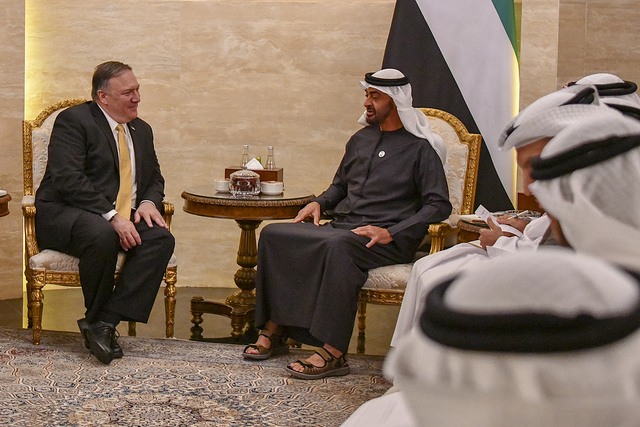 Mike Pompeo with the UAE's  Mohamed bin Zayed Al Nahyan (State Department via Flickr)
