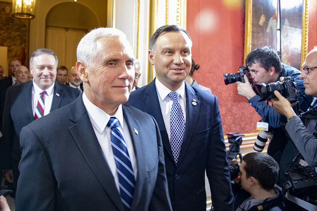 Mike Pence with Polish President Andrzej Duda at the Warsaw conference (State Department via Flickr)