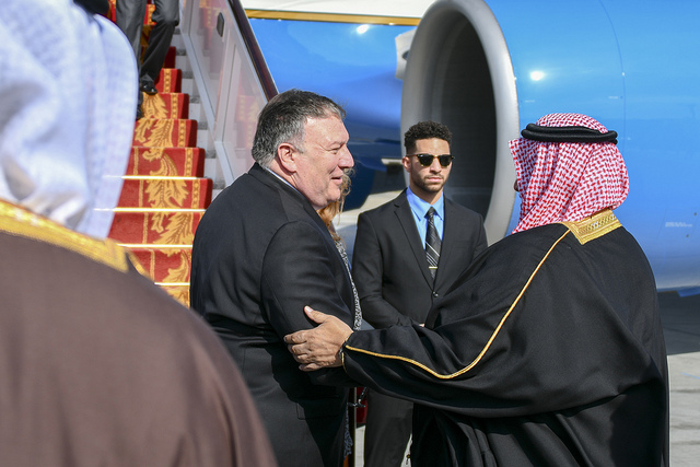 Mike Pompeo arrives in Bahrain (State Department via Flickr)