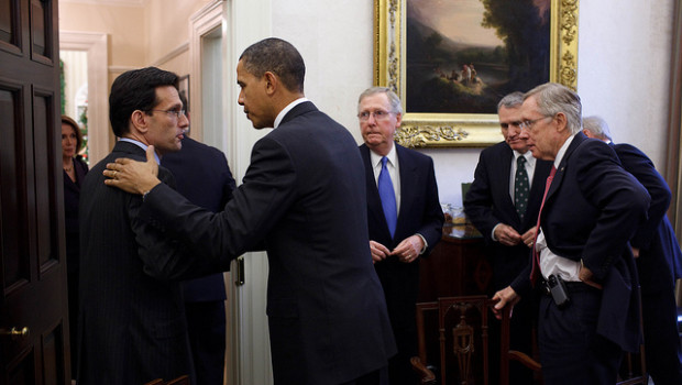 Photo: Rep. Eric Cantor shakes President Barack Obama's hand at the conclusion of a bipartisan Congressional leadership meeting in the Oval Office Private Dining Room on Nov. 10, 2013. Credit: White House Photo by Pete Souza