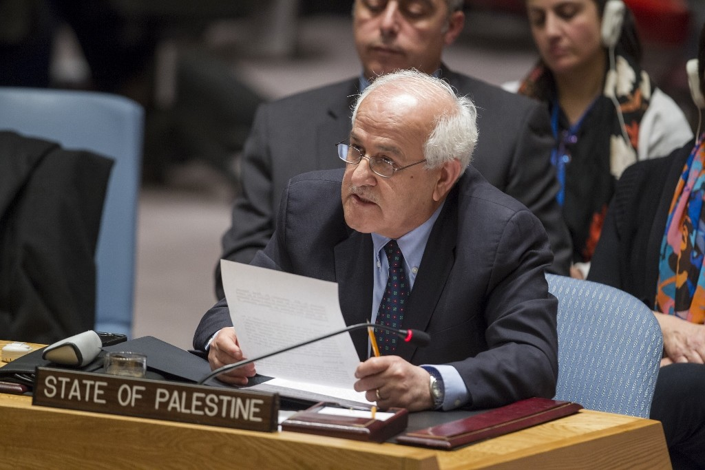 Riyad H. Mansour, Permanent Observer of the State of Palestine to the UN, addresses the Security Council after the vote.