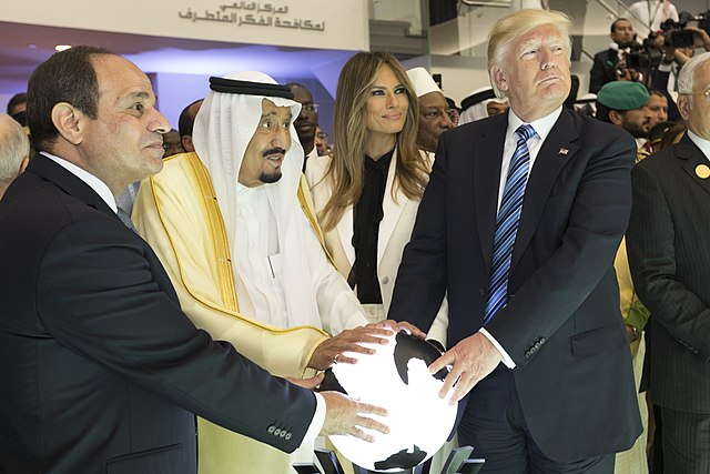 Abdel Fattah al-Sisi of Egypt, King Salman of Saudi Arabia, and Donald Trump (White House)
