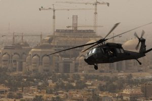 U.S. Black Hawk helicopter over Baghdad (Wikimedia Commons)