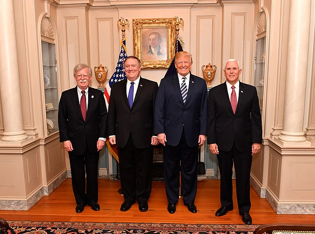 John Bolton, Mike Pompeo, Donald Trump, Mike Pence (State Department)