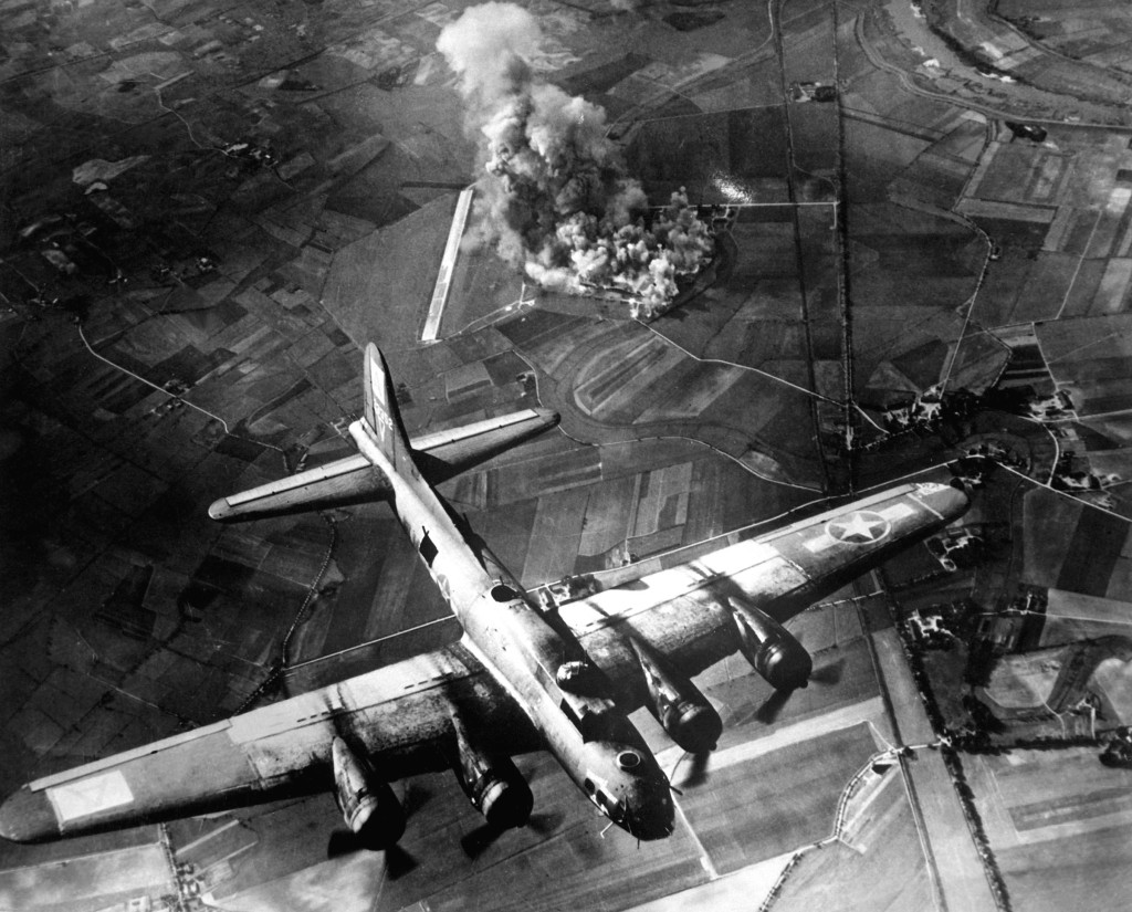 """""""The first big raid by the 8th Air Force was on a Focke Wulf plant at Marienburg.  Coming back, the Germans were up in full force and we lost at least 80 ships - 800 men, many of them pals.""""  1943. Army Air Forces.  (OWI) Exact Date Shot Unknown NARA FILE #:  208-YE-7 WAR & CONFLICT BOOK #:  1087"""