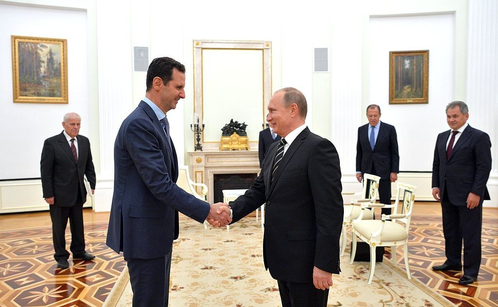 Syrian President Bashar al-Assad meeting Russian President Vladimir Putin in Moscow in 2015 (Wikimedia Commons)