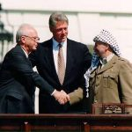 Yitzak Rabin, Bill Clinton, and Yasser Arafat (Wikimedia Commons)