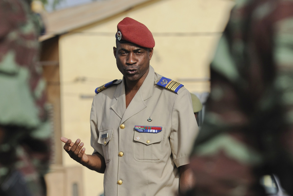 Burkinabe Col. Maj. Gilbert Diendere, chief of staff of the President of Burkina Faso and President of the Burkina Faso Flintlock 2010 Committee, addresses Burkinabe soldiers prior to their deployment to Mali in support of exercise Flintlock 10 in Ouagadougou, Burkino Faso, May 1, 2010. About 40 soldiers boarded the C-130J to deploy for counterterrorism training with U.S., Malian and European partners. Flintlock 10 is a special operations forces exercise and is part of a U.S. Africa Command-sponsored annual program with partner nations in Northern and Western Africa. The exercise, which includes several European nations, is conducted by Special Operations Command Africa and is designed to build relationships and develop capacity among security forces throughout the Trans-Saharan region of Africa. (DoD photo by Master Sgt. Jeremiah Erickson, U.S. Air Force/Released)