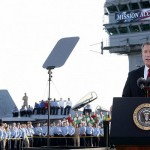 "George W. Bush declaring ""Mission Accomplished"" in Iraq in 2003"