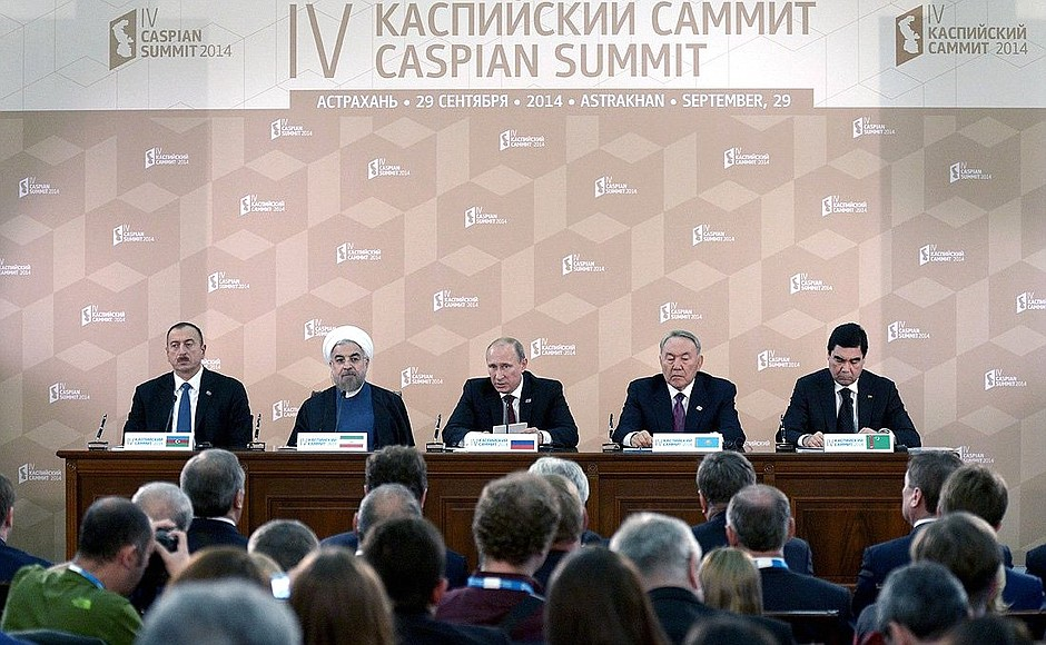 Five presidents of the Caspian states at the 2014 Caspian summit