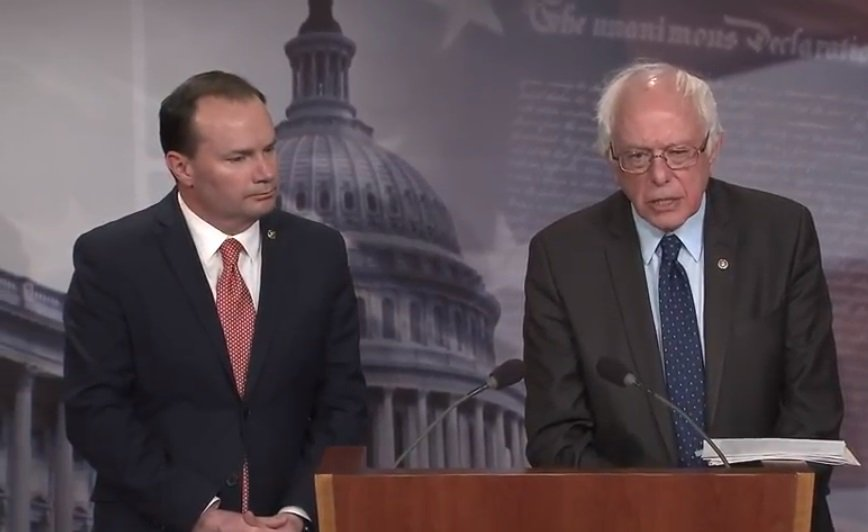 U.S. Senators Mike Lee and Bernie Sanders (YouTube)