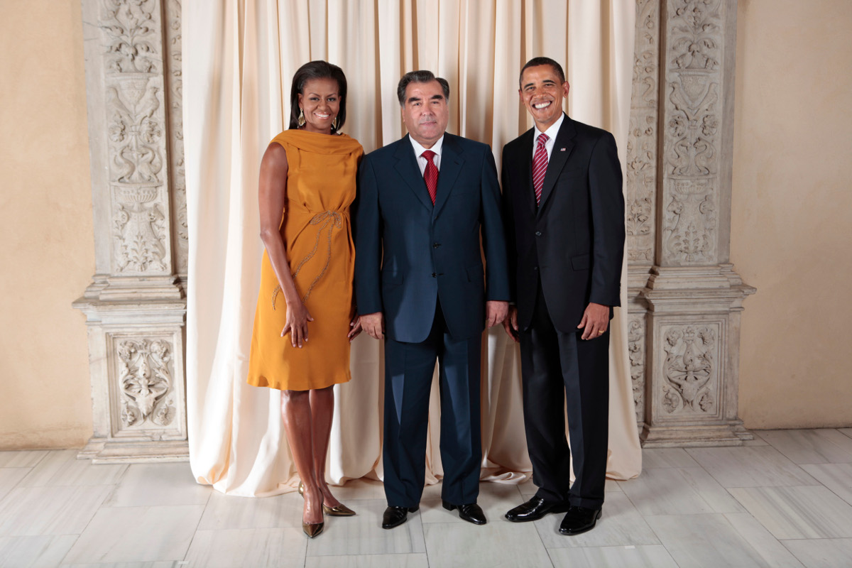 Emomali_Rahmon_with_Obamas