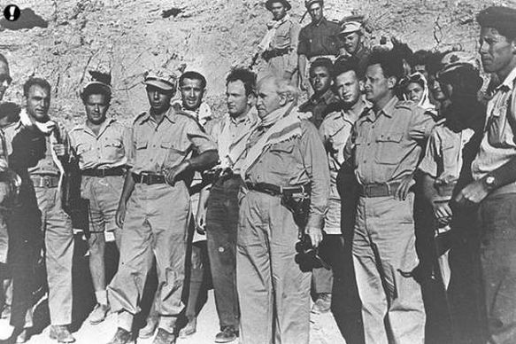 David Ben-Gurion with Yigal Allon and Yitzhak Rabin in the Negev, during the 1948 Arab–Israeli War (Wikimedia Commons)