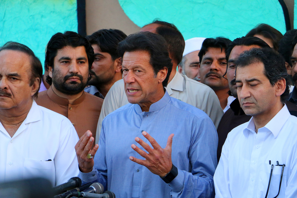 Imran Khan at a 2016 press conference (Jahanzaib Naiyyer / Shutterstock.com)