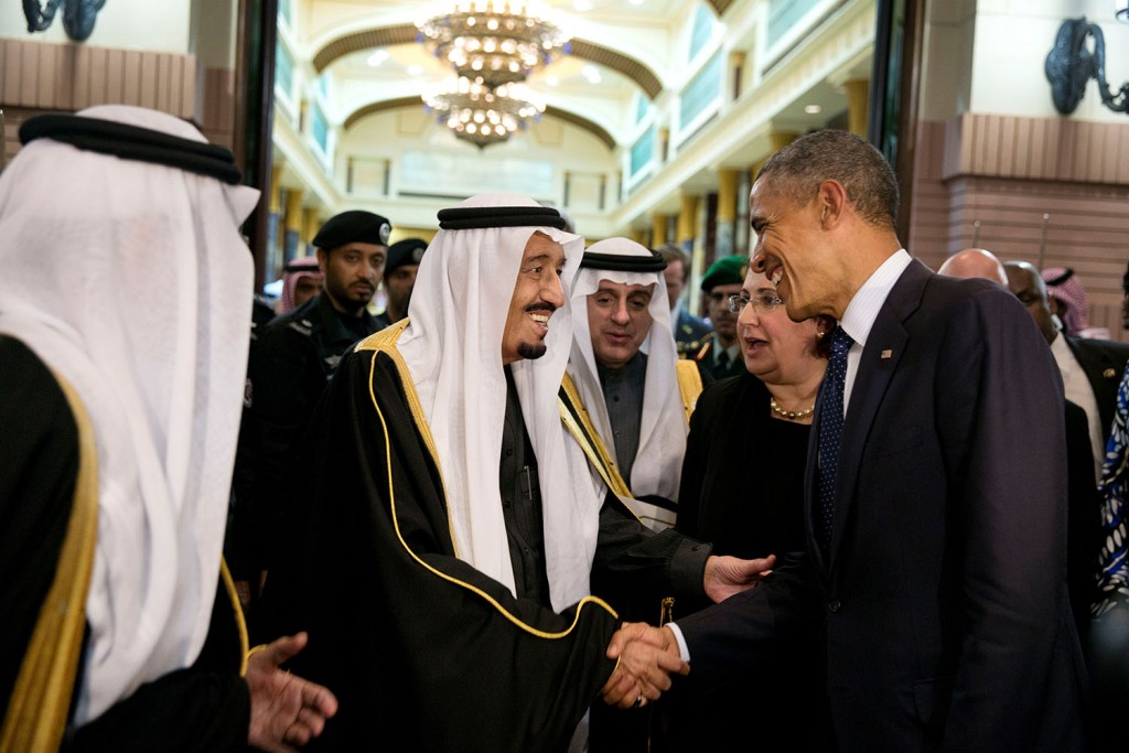 King Salman bin Abdulaziz  of Saudi Arabia bids farewell to President Barack Obama at Erga Palace in Riyadh, Saudi Arabia, Jan. 27, 2015.  (Official White House Photo by Pete Souza)  This official White House photograph is being made available only for publication by news organizations and/or for personal use printing by the subject(s) of the photograph. The photograph may not be manipulated in any way and may not be used in commercial or political materials, advertisements, emails, products, promotions that in any way suggests approval or endorsement of the President, the First Family, or the White House.