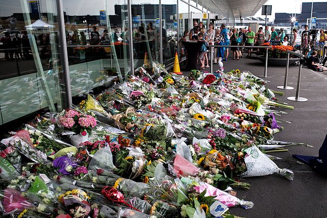 Photo: A memorial at the Amsterdam Schiphol Airport for the victims of the Malaysian Airlines flight MH17, which was reportedly show down while flying over Ukraine on 17 July 2014, killing all 298 people on board.