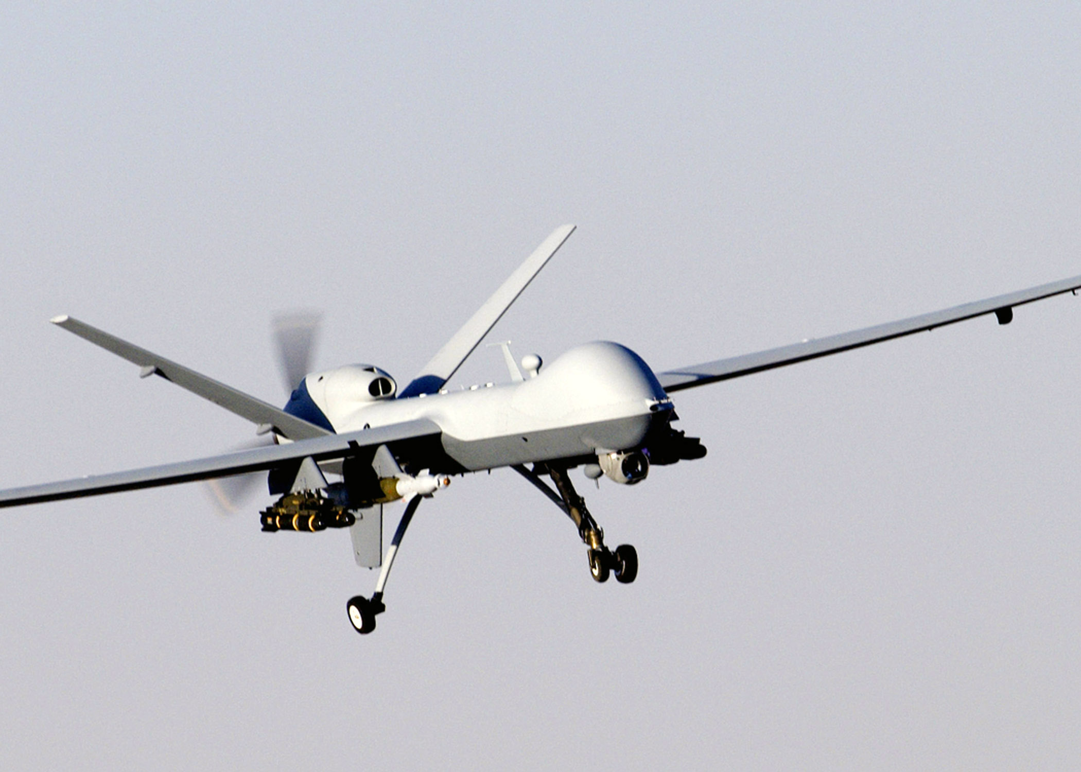 A MQ-9 Reaper unmanned aerial vehicle prepares to land after a mission in support of Operation Enduring Freedom in Afghanistan. The Reaper has the ability to carry both precision-guided bombs and air-to-ground missiles. (U.S. Air Force photo/Staff Sgt. Brian Ferguson)