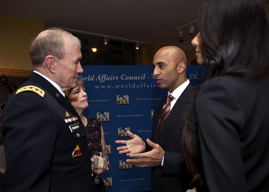 Gen Martin E. Dempsey, chairman of the Joint Chiefs of Staff and his wife Deanie spoke with Ambassador of the United Arab Emirates, Yousef Al Otaiba  who also received the Distinguished Diploatic Service Award at the 2013 World Affairs Council Global Education Gala held at the Ritz-Carlton in Washington, D.C. on March 7, 2013.    (DOD Photo By: U.S. Army Staff Sgt Sun L. Vega)