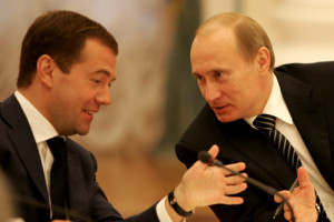 Vladimir Putin with Dmitry Medvedev, March 2008