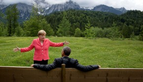 "June 8, 2015 ""We were at the G7 Summit in Krün, Germany. Chancellor Angela Merkel asked the leaders and outreach guests to make their way to a bench for a group photograph. The President happened to sit down first, followed closely by the Chancellor. I only had time to make a couple of frames before the background was cluttered with other people."" (Official White House Photo by Pete Souza) This official White House photograph is being made available only for publication by news organizations and/or for personal use printing by the subject(s) of the photograph. The photograph may not be manipulated in any way and may not be used in commercial or political materials, advertisements, emails, products, promotions that in any way suggests approval or endorsement of the President, the First Family, or the White House."