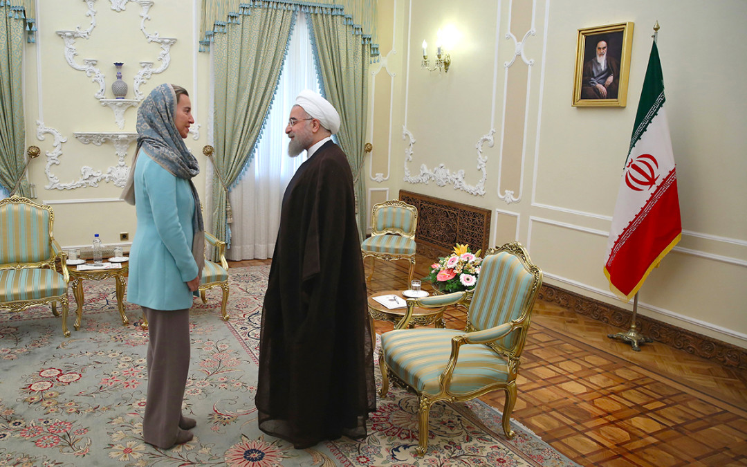 Federica Mogherini and Hassan Rouhani