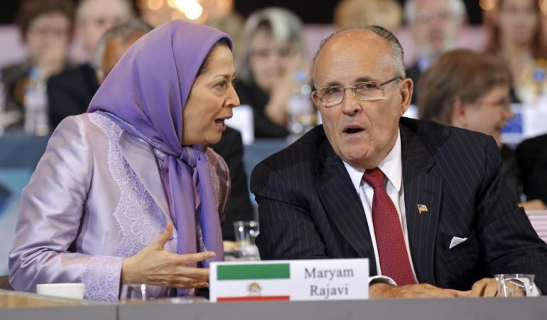The MEK's Maryam Rajavi with Trump lawyer Rudy Giuliani