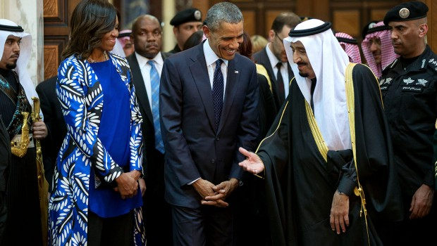 President Barack Obama and First Lady Michelle Obama walk with King Salman bin Abdulaziz of Saudi Arabia at Erga Palace in Riyadh, Saudi Arabia, Jan. 27, 2015. (Official White House Photo by Pete Souza)  This official White House photograph is being made available only for publication by news organizations and/or for personal use printing by the subject(s) of the photograph. The photograph may not be manipulated in any way and may not be used in commercial or political materials, advertisements, emails, products, promotions that in any way suggests approval or endorsement of the President, the First Family, or the White House.