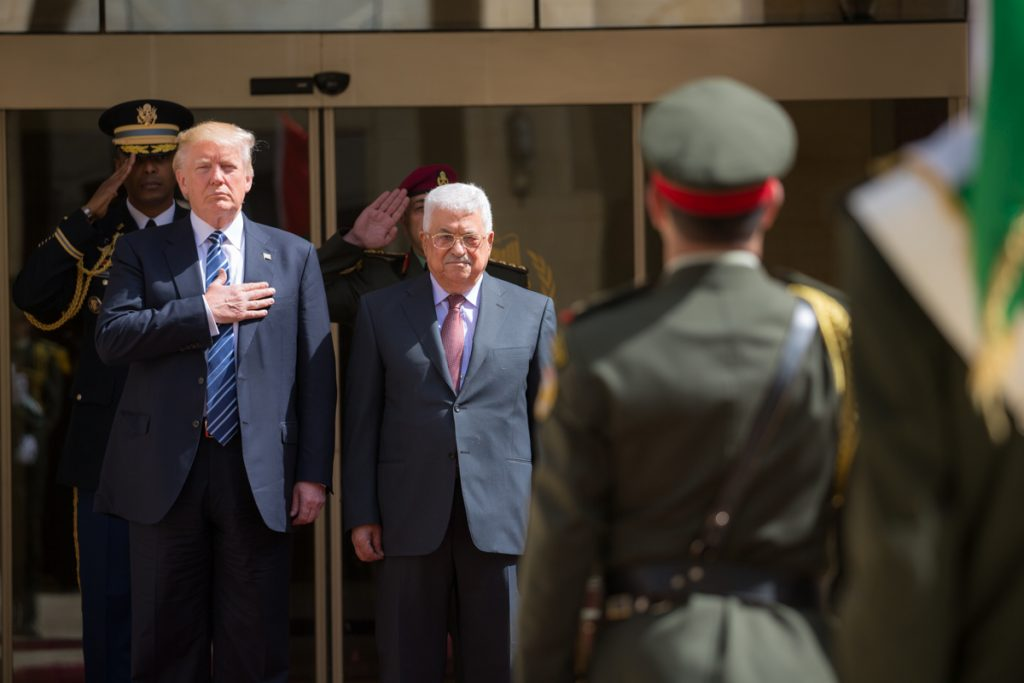 President Donald Trump participates in arrival ceremonies with President Mahmoud Abbas of the Palestinian Authority at the Presidential Palace, Tuesday, May 23, 20217, in Bethlehem.