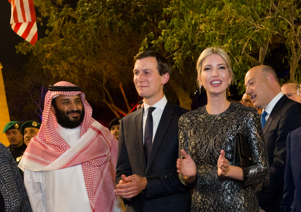 Senior White House Adviser Jared Kushner, and his wife, Assistant to the President Ivanka Trump, U.S. Commerce Secretary Wilbur Ross, U.S. Secretary of State Rex Tillerson, and White House Chief of Staff Reince Priebus are seen as they arrive with President Donald Trump and First Lady Melania Trump to the Murabba Palace as honored guests of King Salman bin Abdulaziz Al Saud of Saudi Arabia, Saturday evening, May 20, 2017, in Riyadh, Saudi Arabia. (Official White House Photo by Shealah Craighead)