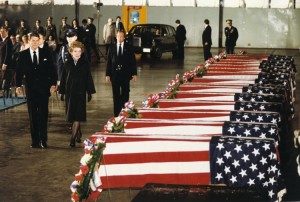 President Ronald Reagan and his wife, Nancy, walk by the flag-draped caskets of the victims of the April 18, 1983, bombing of the U.S. Embassy in Beirut, Lebanon. Photo courtesy Ronald Reagan Presidential Library