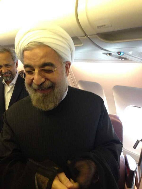 President Rouhani in a plane before departing for Tehran after speaking to President Obama moments before. (via @HassanRouhani)