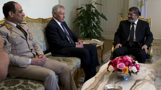 SD_Chuck_Hagel_meets_with_President_Mohamed_Morsy_in_Cairo,_Egypt,_April_24,_2013_(cropped)