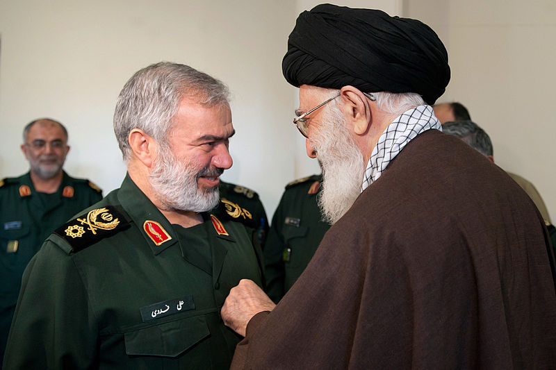 Mohammad Ali Jafari and Ayatollah Khamenei (Wikimedia Commons)