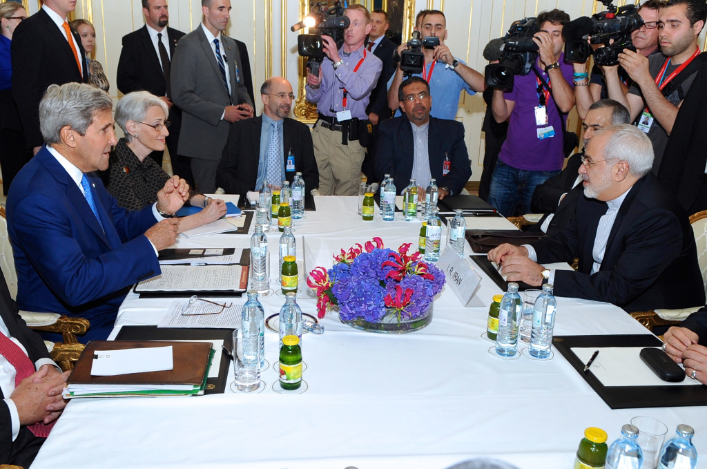 John Kerry and Mohammad Javad Zarif conduct a bilateral meeting in Vienna, Austria, July 14, 2014